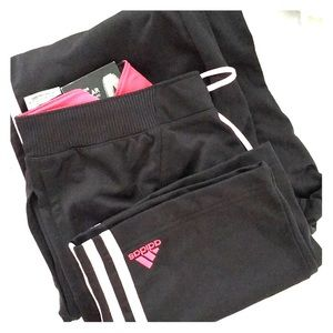 Adidas Wide Leg Track Pant With Stripes